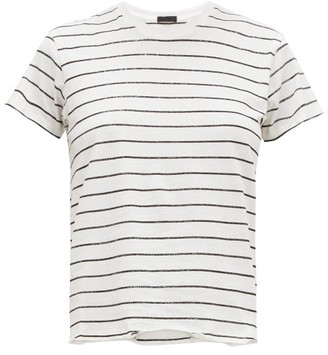 Atm - Glitter Striped Pima Cotton Jersey T Shirt - Womens - White Multi