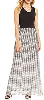 Calvin Klein Mixed Media A-line Maxi Sleeveless Scoop Neck Dress
