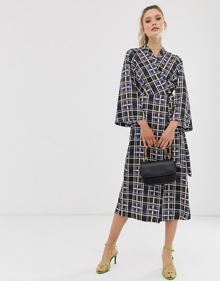 Closet London Closet wrap dress with bell sleeves-Black