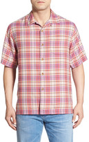 Tommy Bahama &Lookout Point& Original Fit Plaid Silk Camp Shirt