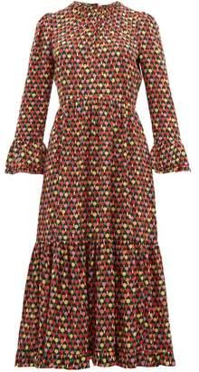 La DoubleJ Ping Pong-print Ruffled Crepe-chiffon Midi Dress - Womens - Multi
