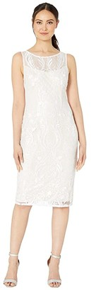 Adrianna Papell Illusion Embroidered Chantilly Lace Cocktail Dress (Ivory) Women's Dress