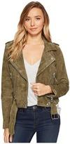 Blank NYC Suede Moto Jacket in Burnt Sage Women's Coat