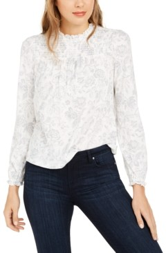 Lucky Brand Printed Smocked Cotton Peasant Top