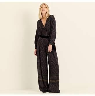 Amanda Wakeley Geo Paisley Printed Wide Leg Trousers