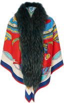 Caban Romantic Red Alligator Printed Fur Scarf