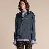 Burberry Silk Pyjama-style Shirt , Size: Xs, Blue