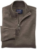 Charles Tyrwhitt Brown Cotton Cashmere Zip Neck Sweater Size XS