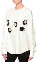 MSGM Long-Sleeve Mirror-Trim Crepe Cady Top, White