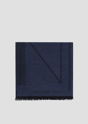 Emporio Armani Pure Wool Stole With Logo Jacquard Pattern