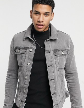 ASOS DESIGN skinny denim jacket in gray