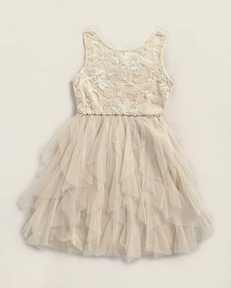 Rare Editions Girls 7-16) Lace Cascade Tulle Dress