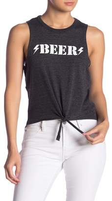 Chaser Beer Graphic Print Tie Tank Top