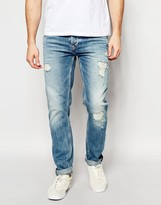 Pepe Jeans Flint Tapered Fit Extreme Distressed Light Vintage