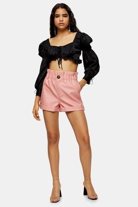 Topshop Womens Pink Pu Paperbag Shorts - Pink