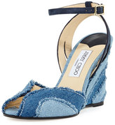 Jimmy Choo Damon Denim 100mm Wedge Sandal, Light Indigo Mix