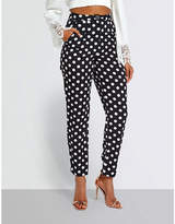 Missguided Polka dot-print woven trousers