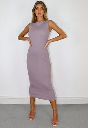 Missguided Lilac Wide Neck Raw Edge Midi Dress