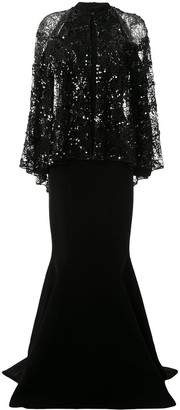 Saiid Kobeisy Cold-Shoulder Sequin Gown