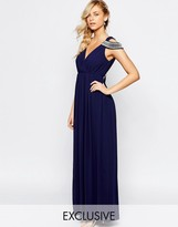 TFNC WEDDING Cold Shoulder Wrap Front Maxi Dress