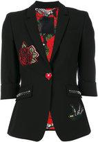 Philipp Plein tattoo patch fitted jacket - women - Polyester/Spandex/Elastane/Viscose - S
