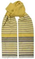 Amanda Wakeley Yellow Stripe Wool Blend Scarf