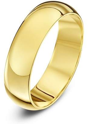 Theia Unisex 18 ct Yellow Gold, Super Heavy D Shape, Polished, 5 mm Wedding Ring, Size Z