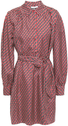 Joie Razi Belted Printed Silk-twill Mini Shirt Dress