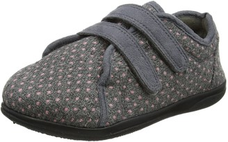 Padders Duo Wide 2E/ 3E Fitting Womens Memory Foam Slippers - Grey - UK3