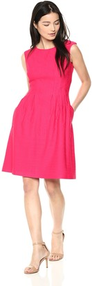 Taylor Dresses Women's Sleeveless fit and Flare Solid Jacquard Knit Dress