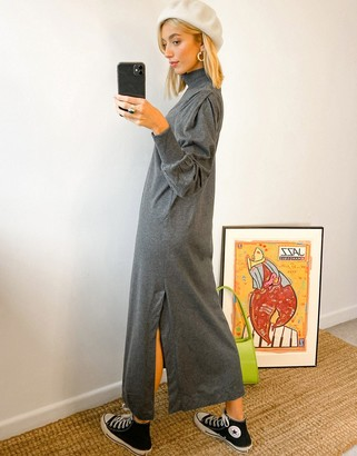 Selected high neck jersey maxi dress in grey