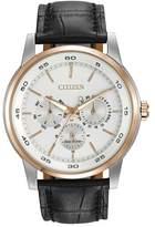 Citizen Men's Eco-Drive Two-Tone Black Leather Strap Watch