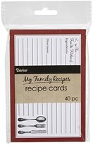 Darice 1219-520 40 Count Recipe Cards, Cutlery Theme, Red/Black