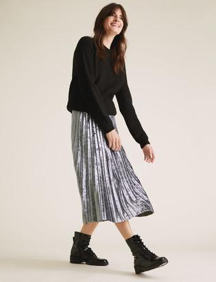 Marks and Spencer Jersey Velvet Pleated Midi Skirt