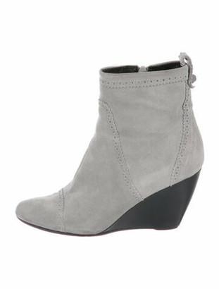 Balenciaga Suede Lasercut Accents Boots Grey