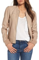 Hinge Women's Shrunken Leather Bomber Jacket