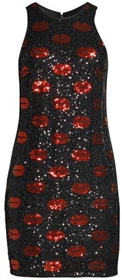 Aidan Mattox Lip Sequin Shift Dress