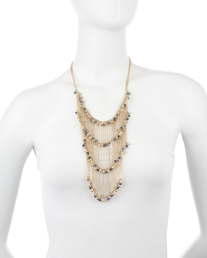Fragments for Neiman Marcus Tiered Fringe Necklace, Lapis