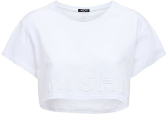 Michi Flash Embossed Logo Crop Top