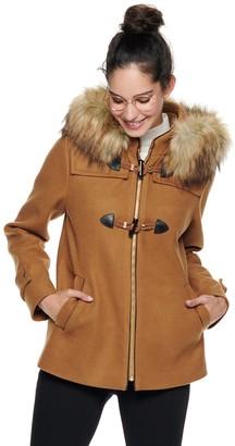 Nine West Women's Hooded Faux-Fur Trim Toggle Coat