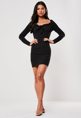 Missguided Black Milkmaid Long Sleeve Bodycon Mini Dress