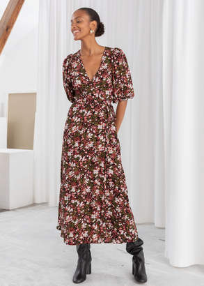 And other stories Floral Puff Sleeve Midi Wrap Dress