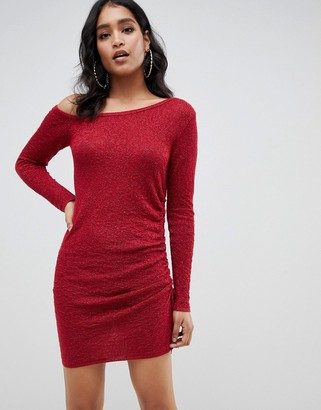 Asos Design DESIGN asymmetric ruched side knitted mini dress-Red