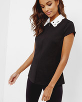 Ted Baker Embroidered Collar Front-zip Top Black