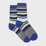 Paul Smith Women's Sky Blue Varied Stripe Socks