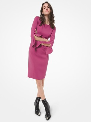 Michael Kors Collection Stretch Wool Crepe Ruffled-Cuff Sheath Dress