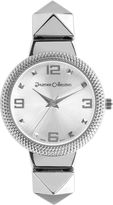 Journee Collection Womens Textured Bezel Stainless Steel Bracelet Watch