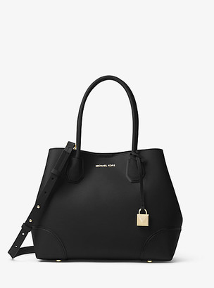 MICHAEL Michael Kors MK Mercer Gallery Medium Leather Satchel - Black - Michael Kors