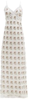 Brock Collection Floral-print Lace Cotton-blend Slip Dress - White Print