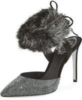 Rene Caovilla Mink-Trim Crystal 100mm Pump, Black